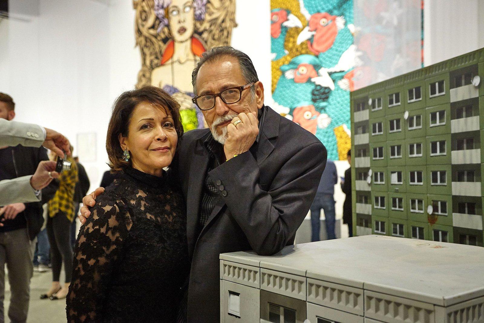 Chaz Bojorquez and his wife Christina, Rome, 2017 © Simon d'Exéa. Cross the Streets Inauguration at MACRO