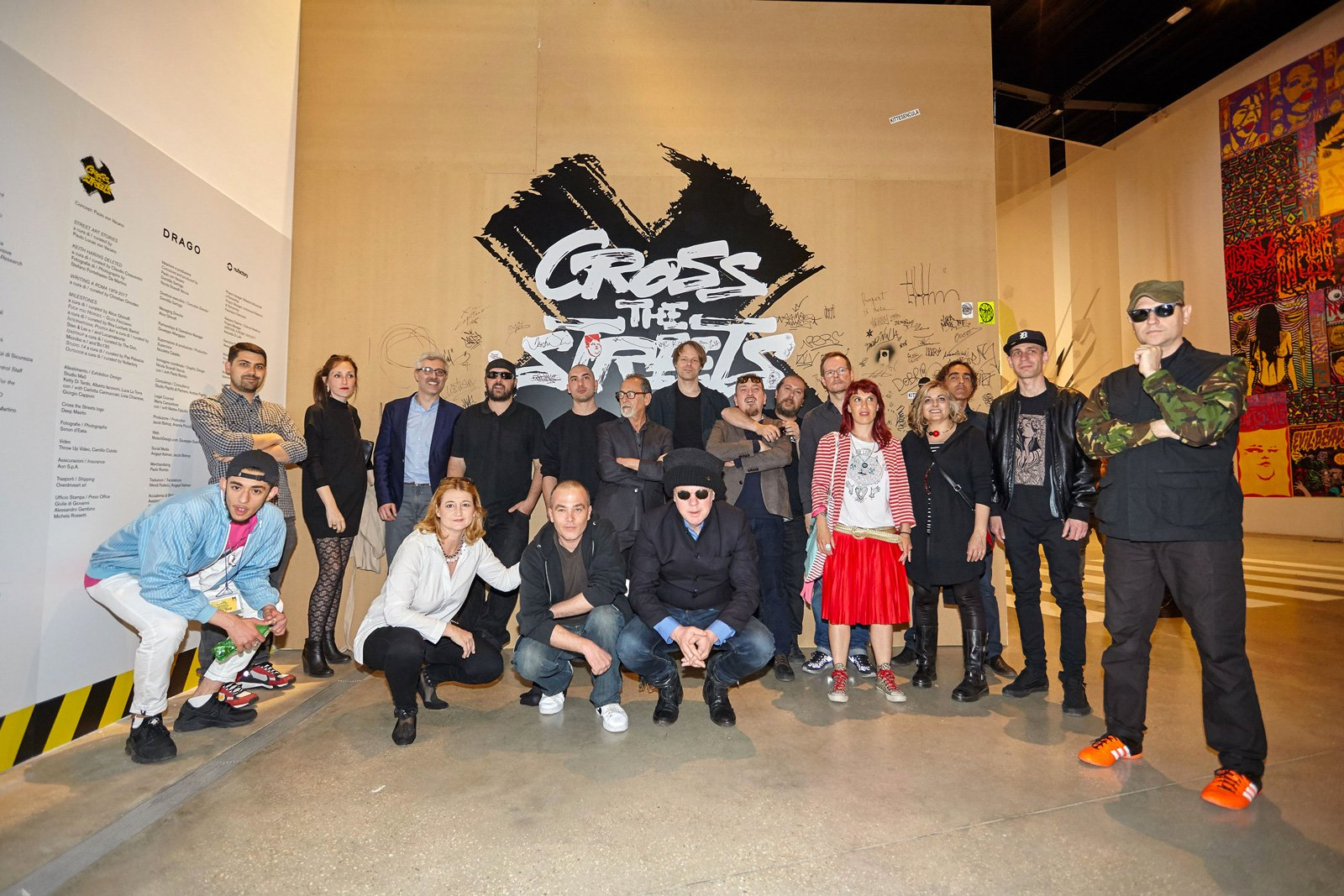 Curators, artists and staff that worked on the show. Cross the Streets Inauguration at MACRO