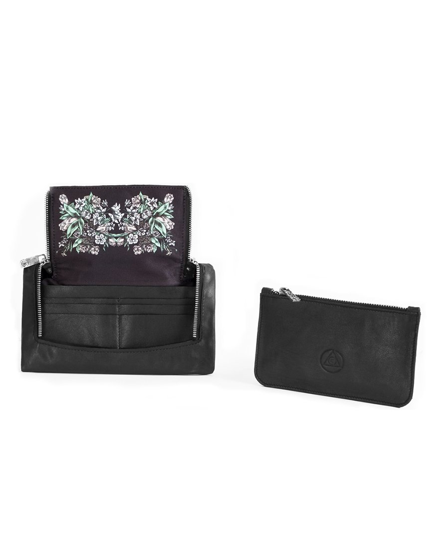 Superology x Lucamaleonte. noir flowers wallet