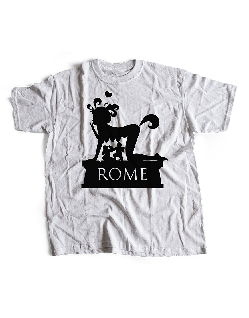 dolce q is a rome based graphic and designer studio, rome wasn't drawn in a day is a colouring book about the eternal city, here the original t-shirt