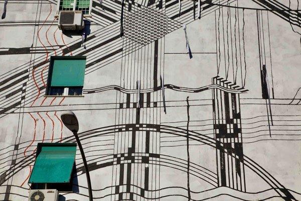 Sten Lex, Paesaggio Industriale, Stencil, Confini Ritagli su Carta