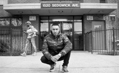Amir Issaa in front of the apartment building in the Morris Heights neighborhood in the Bronx, New York City, the accepted birthplace of Hip Hop.
