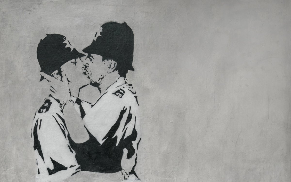 Banksy, Kissing Coppers, Street art