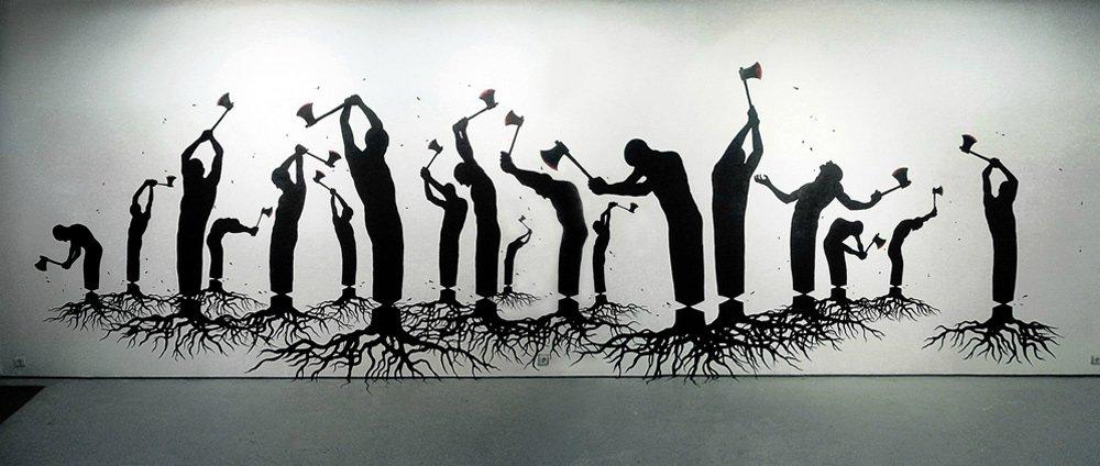 Human Nature, Pejac, Acrylic on wall, Salamanca, 2013