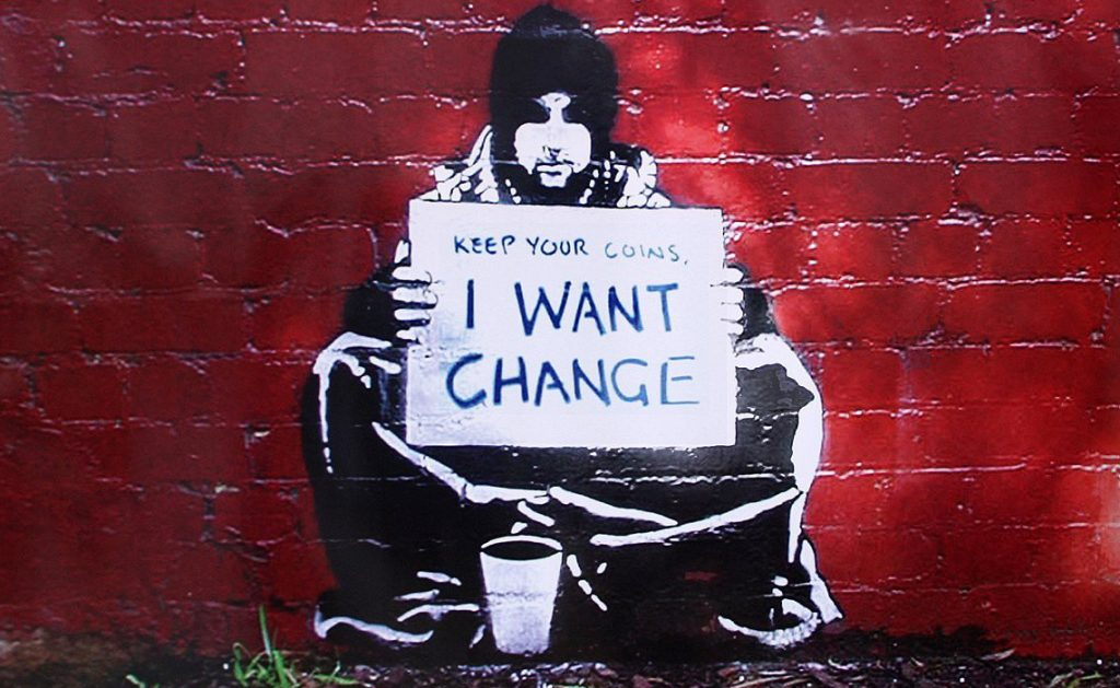 Keep Your Coins I Want Change, Bansky, Mural, Street Art