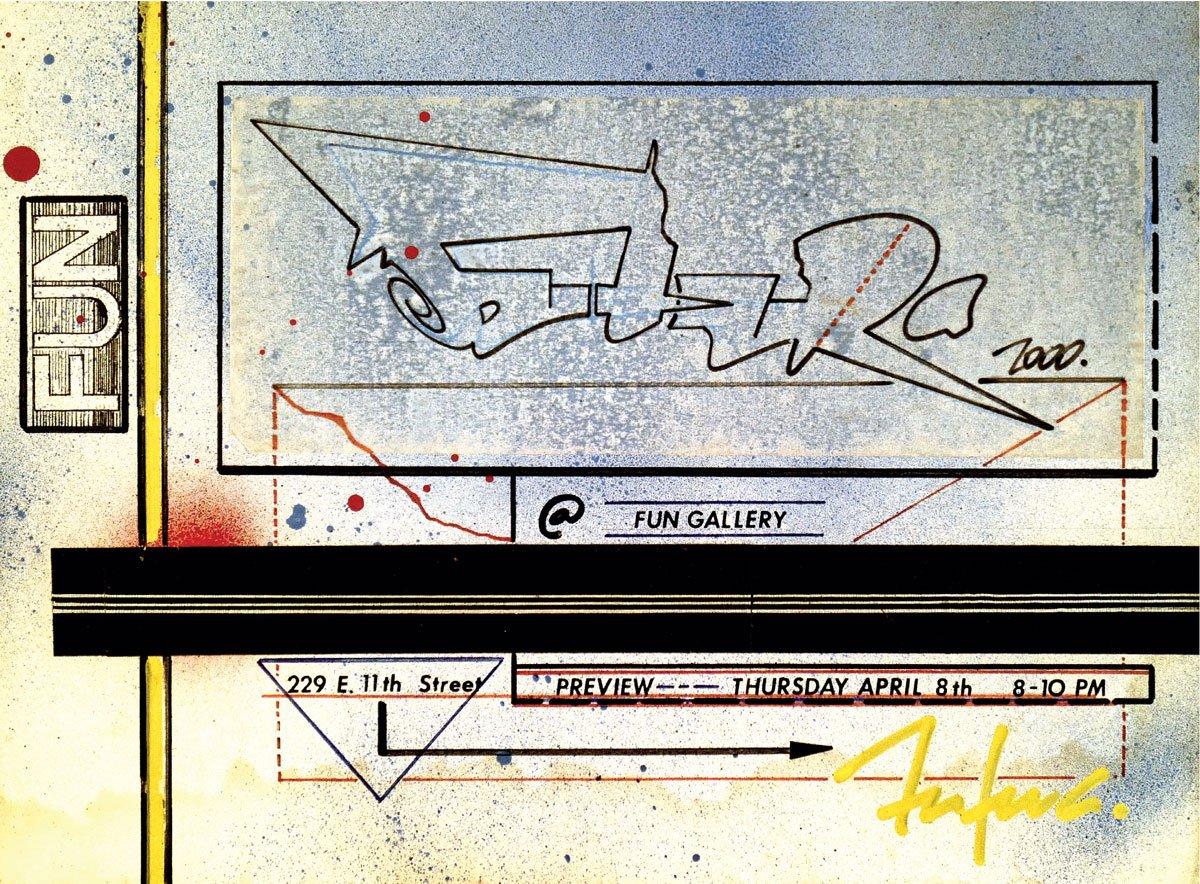 Futura 2000, Invitation, Exhibition, 1983, Graffiti Writing, Graffiti, Full Frame, Street art