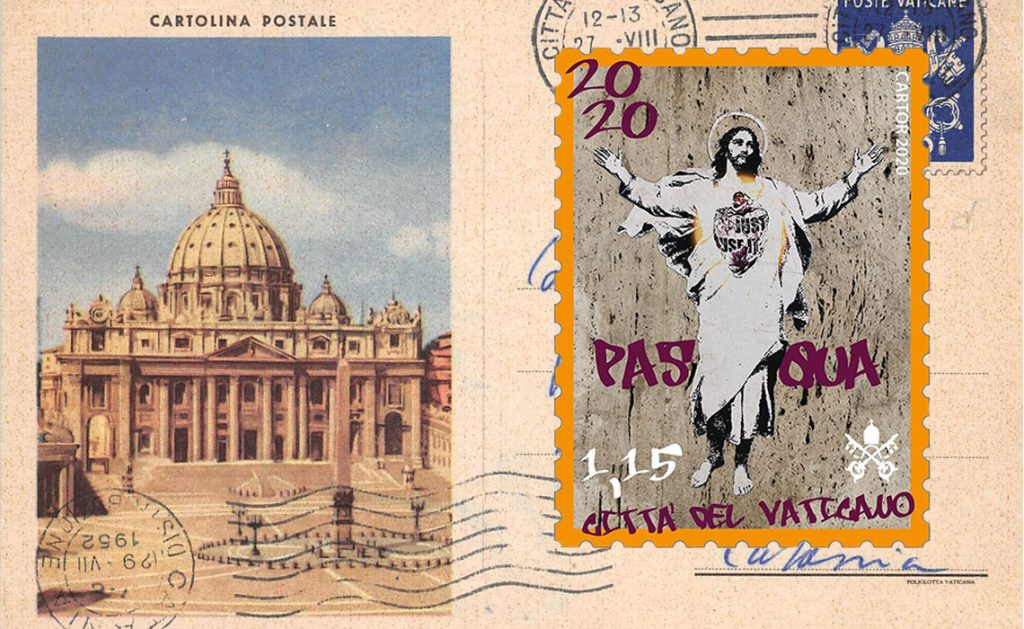Alessia Babrow, Street art, Vatican, Christ, Easter Stamp